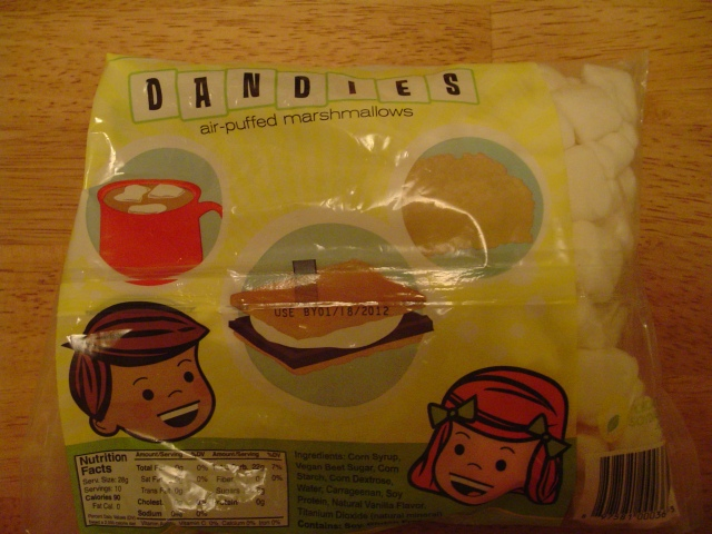 Dandies marshmallows bag from the back