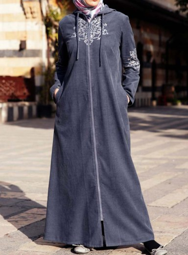 Product Photo: Corduroy Embroidered Jilbab in Steel Grey